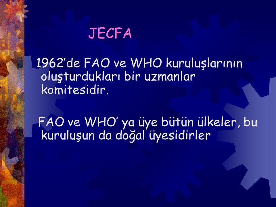 JECFA 1962'de FAO ve WHO kuruluşlarının oluşturdukları bir uzmanlar komitesidir.