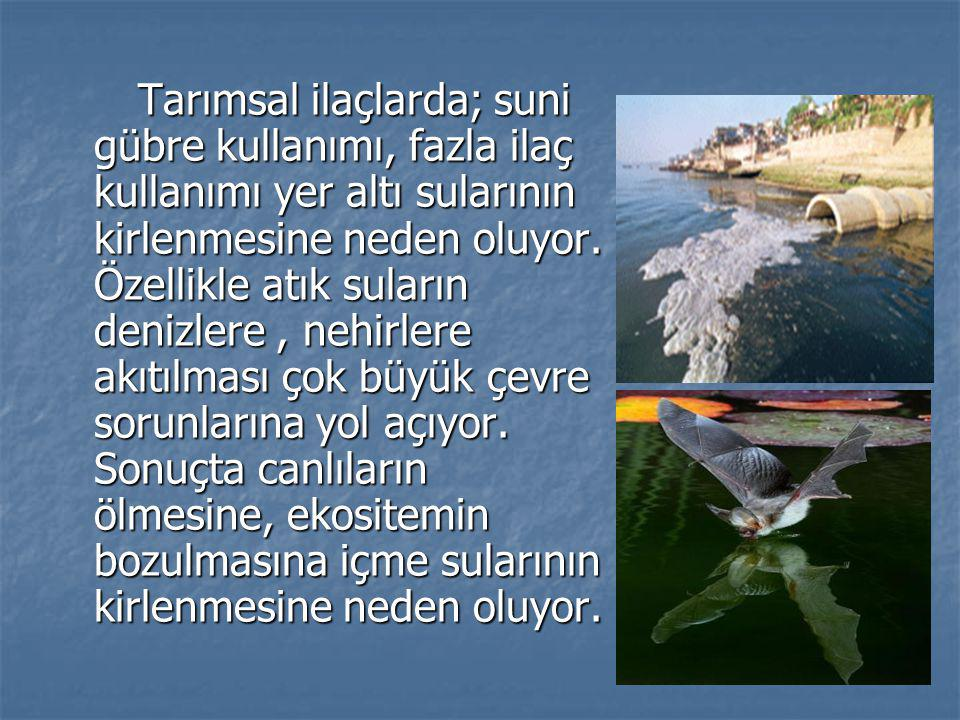 Tarımsal ilaçlarda; suni gübre kullanımı, fazla ilaç kullanımı yer altı sularının kirlenmesine neden oluyor.