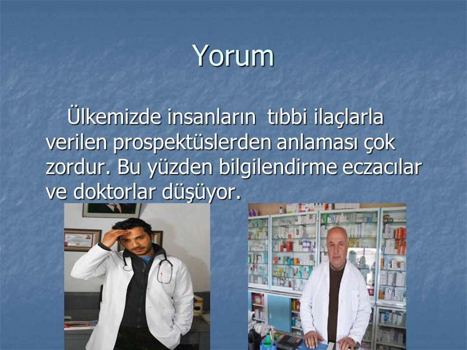 Yorum Ülkemizde insanların tıbbi ilaçlarla verilen prospektüslerden anlaması çok zordur.