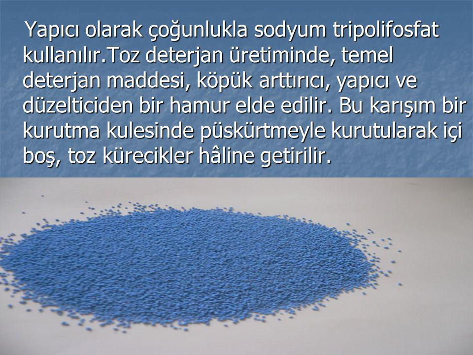 Yapıcı olarak çoğunlukla sodyum tripolifosfat kullanılır