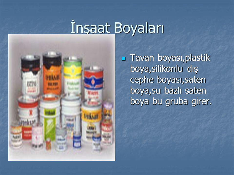 İnşaat Boyaları Tavan boyası,plastik boya,silikonlu dış cephe boyası,saten boya,su bazlı saten boya bu gruba girer.