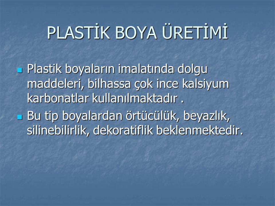 PLASTİK BOYA ÜRETİMİ Plastik boyaların imalatında dolgu maddeleri, bilhassa çok ince kalsiyum karbonatlar kullanılmaktadır .