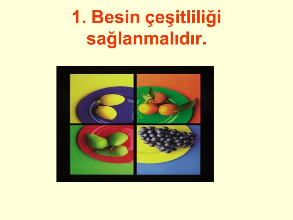 1. Besin çeşitliliği sağlanmalıdır.