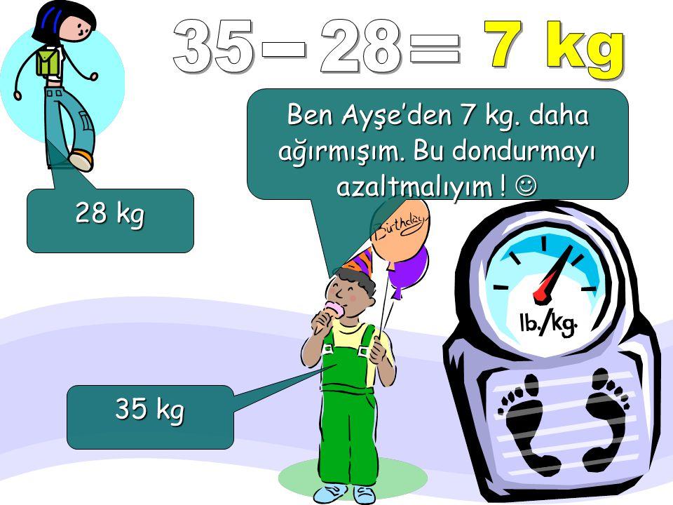 Ben Ayşe'den 7 kg. daha ağırmışım. Bu dondurmayı azaltmalıyım ! 