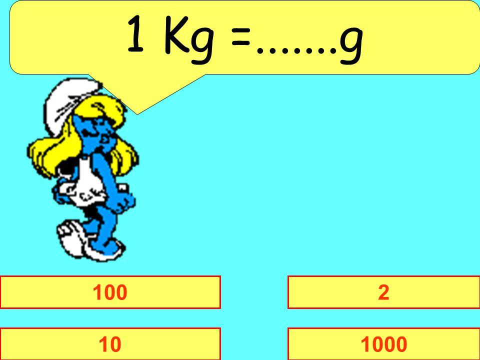 1 Kg =.......g 100 2 10 1000