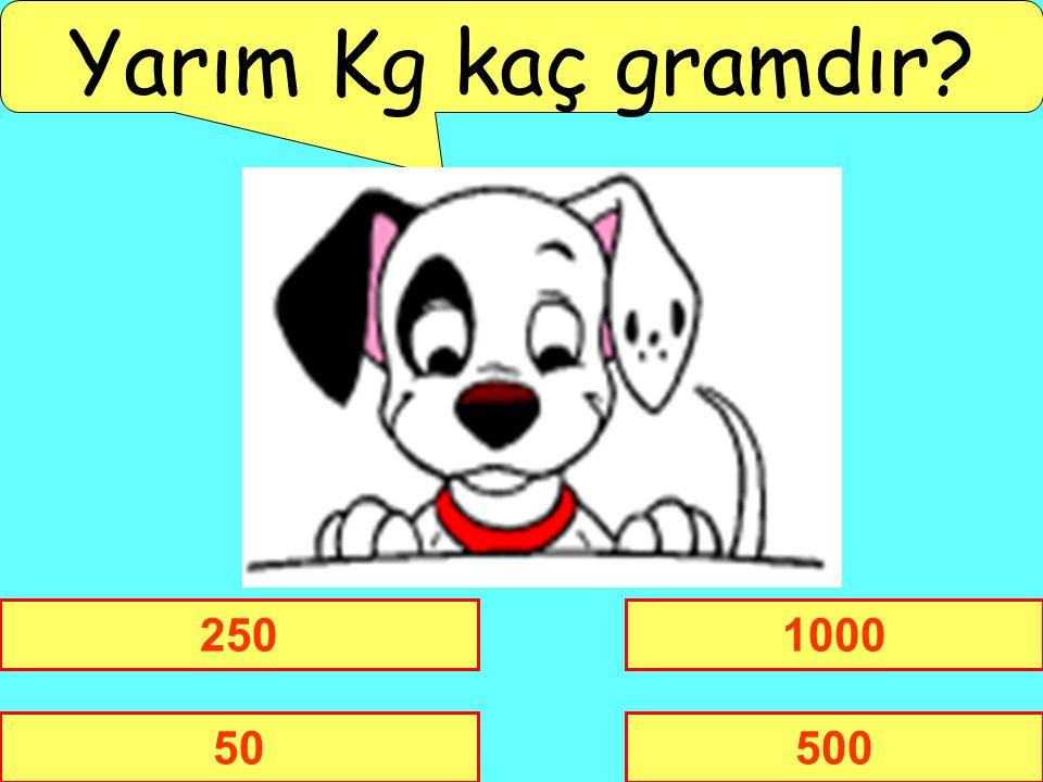 Yarım Kg kaç gramdır 250 1000 50 500