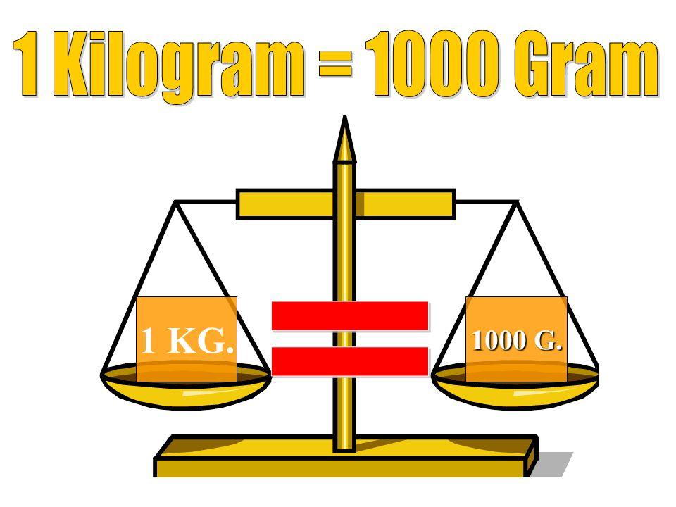 1 Kilogram = 1000 Gram 1 KG. 1000 G. =
