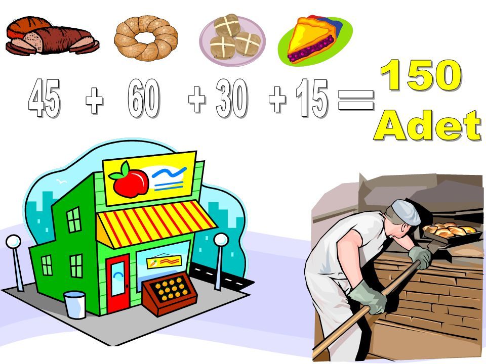 150 Adet 45 2 60 5 30 3 15 + + + + + = =