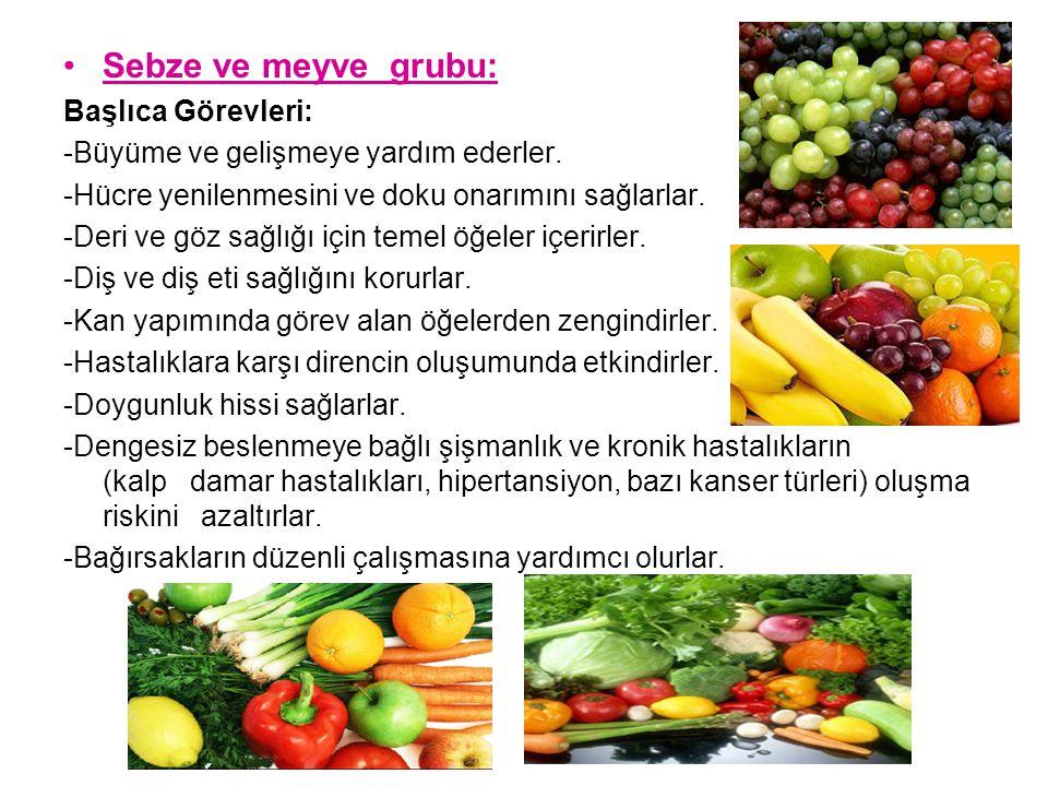 Sebze ve meyve grubu: Başlıca Görevleri: