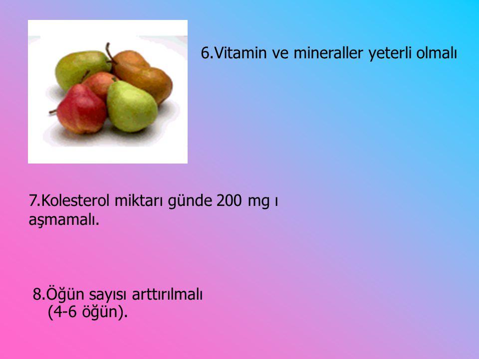6.Vitamin ve mineraller yeterli olmalı