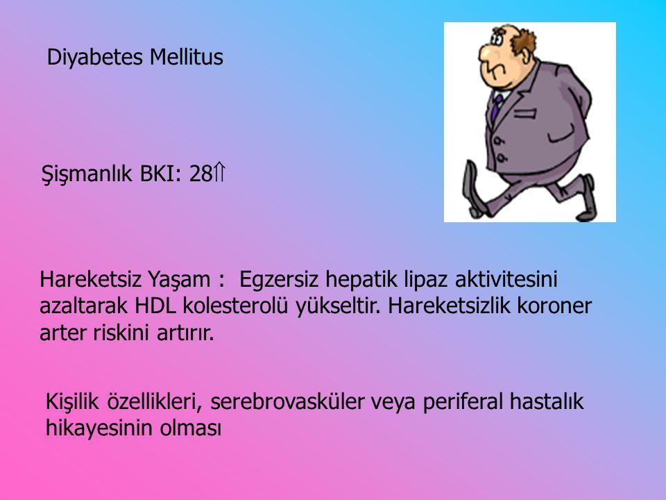 Diyabetes Mellitus Şişmanlık BKI: 28 Hareketsiz Yaşam : Egzersiz hepatik lipaz aktivitesini.
