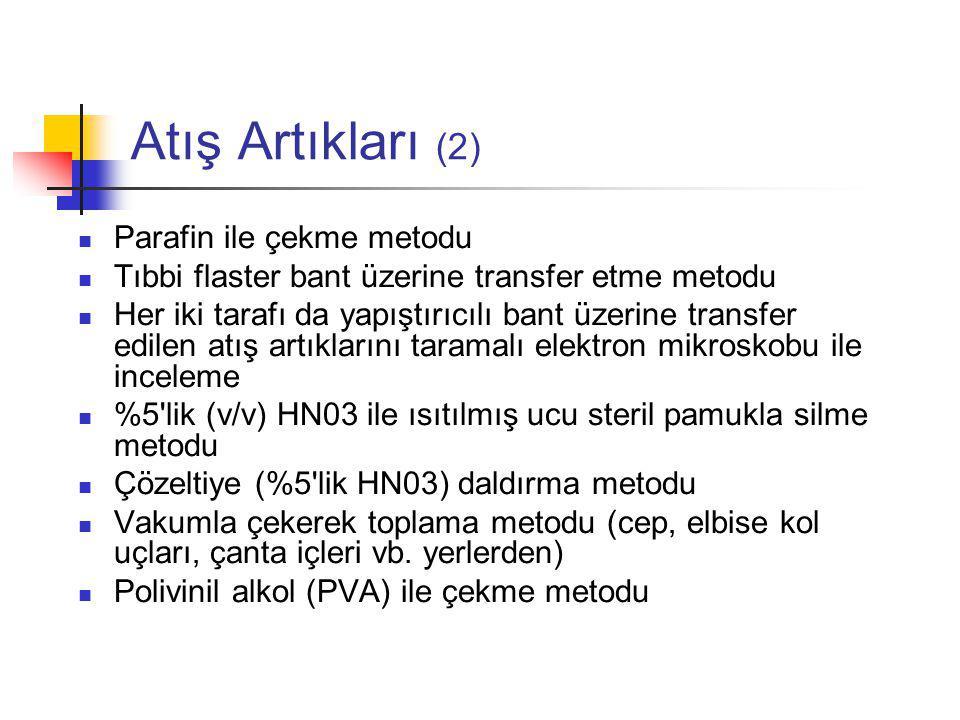 Atış Artıkları (2) Parafin ile çekme metodu