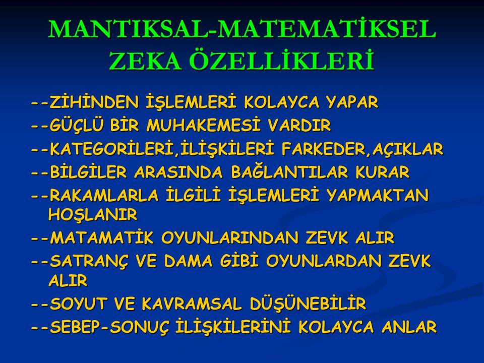 MANTIKSAL-MATEMATİKSEL ZEKA ÖZELLİKLERİ
