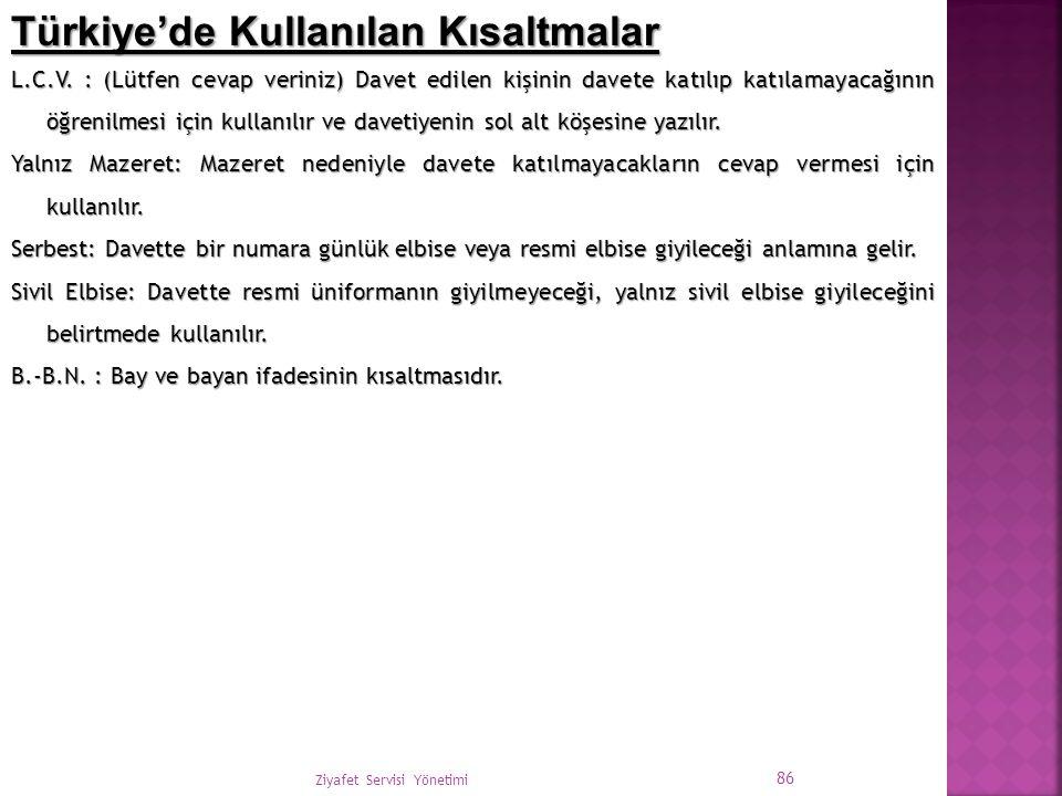 Türkiye'de Kullanılan Kısaltmalar