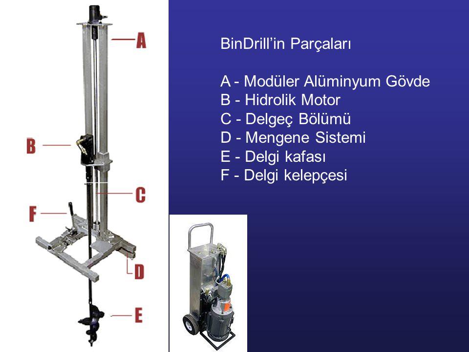 BinDrill'in Parçaları A - Modüler Alüminyum Gövde B - Hidrolik Motor