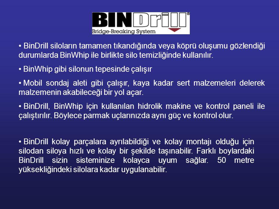 BinDrill siloların tamamen tıkandığında veya köprü oluşumu gözlendiği durumlarda BinWhip ile birlikte silo temizliğinde kullanılır.