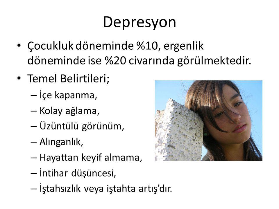 Depresyon Çocukluk döneminde %10, ergenlik döneminde ise %20 civarında görülmektedir. Temel Belirtileri;