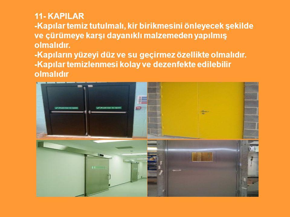 11- KAPILAR -Kapılar temiz tutulmalı, kir birikmesini önleyecek şekilde ve çürümeye karşı dayanıklı malzemeden yapılmış olmalıdır.