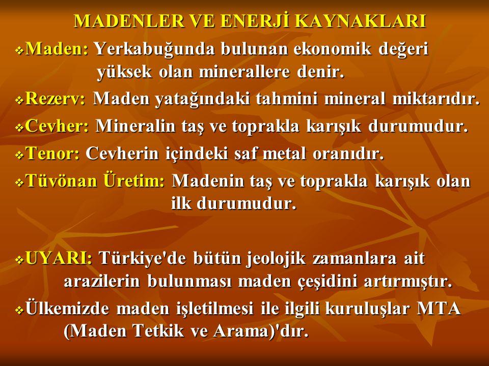 MADENLER VE ENERJİ KAYNAKLARI