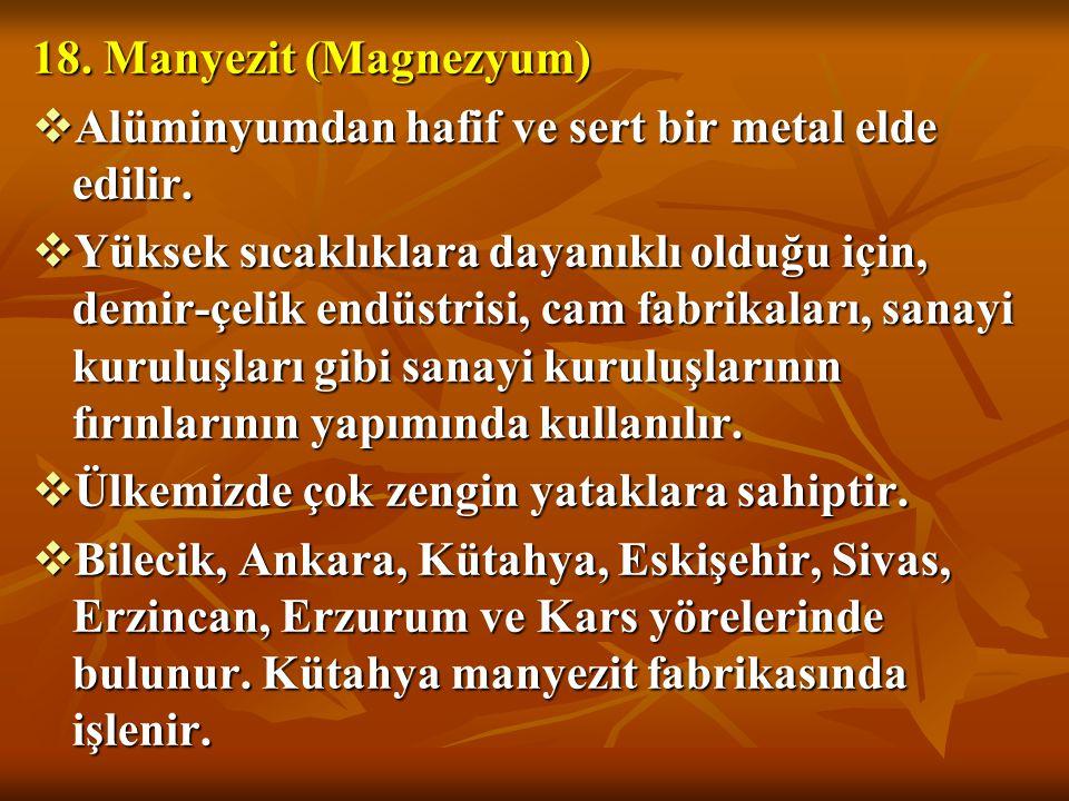 18. Manyezit (Magnezyum) Alüminyumdan hafif ve sert bir metal elde edilir.