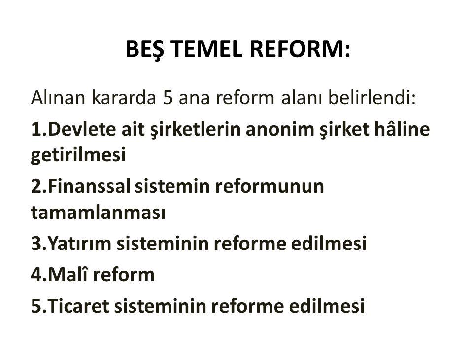 BEŞ TEMEL REFORM: Alınan kararda 5 ana reform alanı belirlendi: