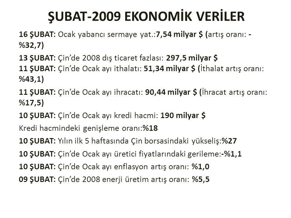 ŞUBAT-2009 EKONOMİK VERİLER