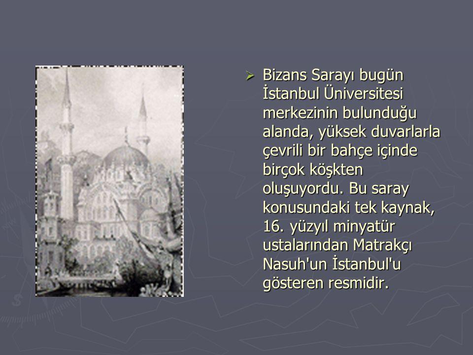 Bizans Sarayı bugün İstanbul Üniversitesi merkezinin bulunduğu alanda, yüksek duvarlarla çevrili bir bahçe içinde birçok köşkten oluşuyordu.