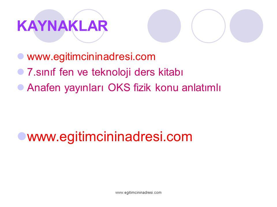 KAYNAKLAR www.egitimcininadresi.com