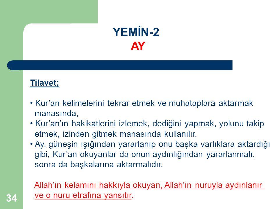 YEMİN-2 AY. Tilavet; Kur'an kelimelerini tekrar etmek ve muhataplara aktarmak. manasında,