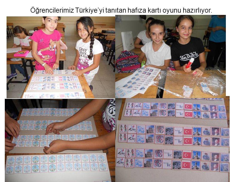 Öğrencilerimiz Türkiye'yi tanıtan hafıza kartı oyunu hazırlıyor.