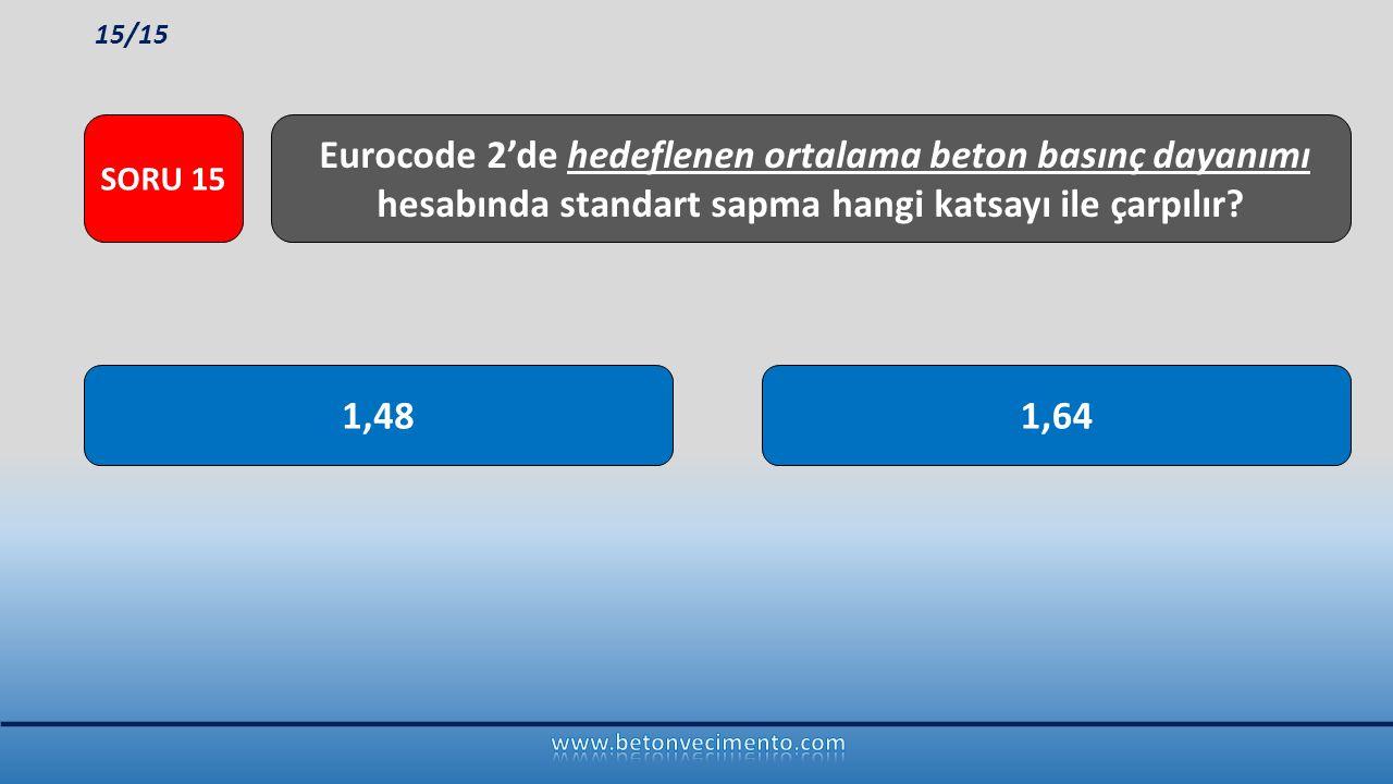 15/15 SORU 15. Eurocode 2'de hedeflenen ortalama beton basınç dayanımı hesabında standart sapma hangi katsayı ile çarpılır
