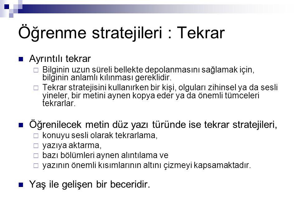 Öğrenme stratejileri : Tekrar