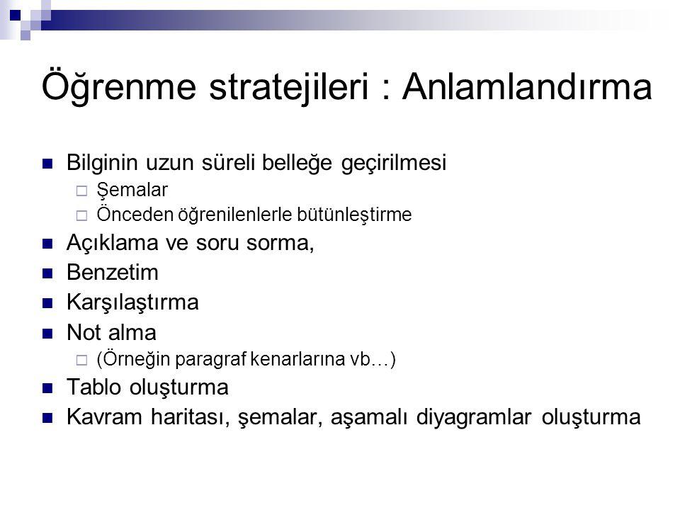 Öğrenme stratejileri : Anlamlandırma