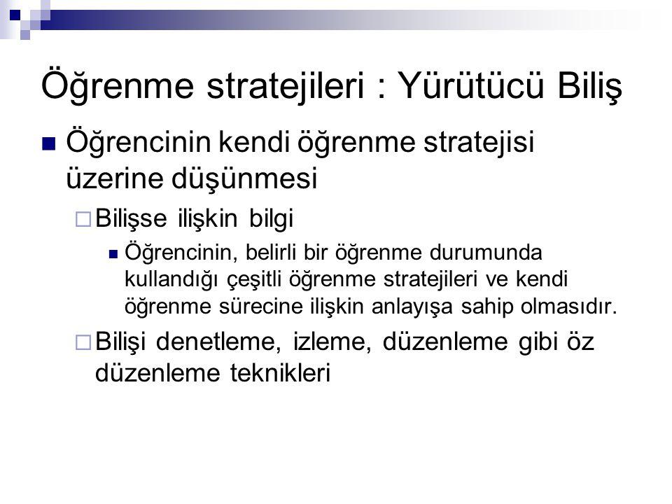 Öğrenme stratejileri : Yürütücü Biliş