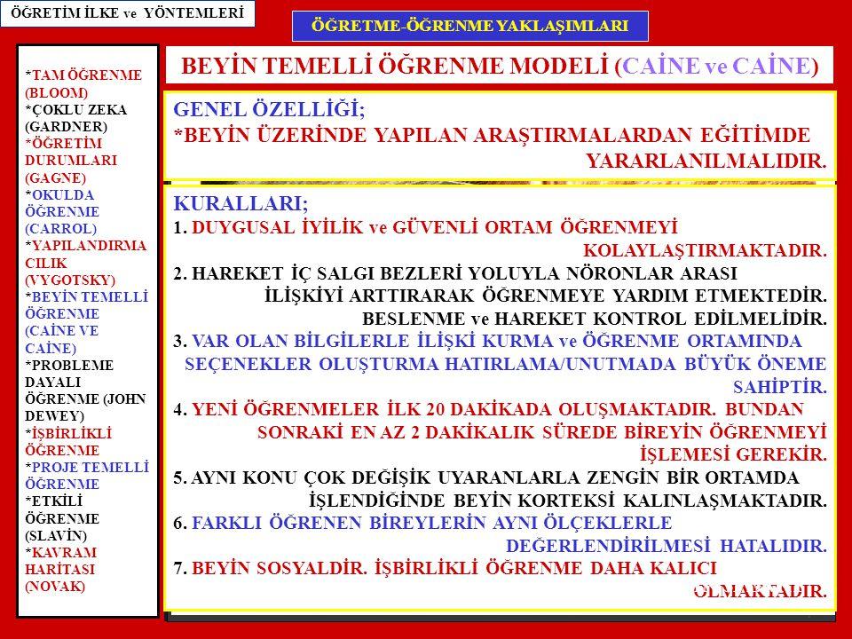 BEYİN TEMELLİ ÖĞRENME MODELİ (CAİNE ve CAİNE)
