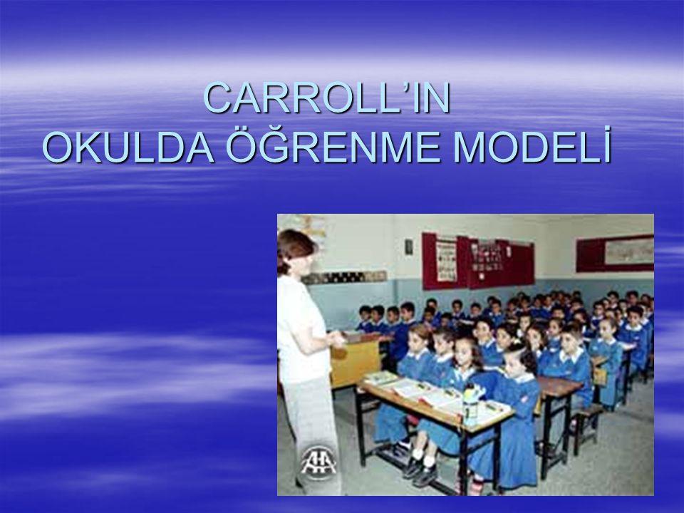 CARROLL'IN OKULDA ÖĞRENME MODELİ