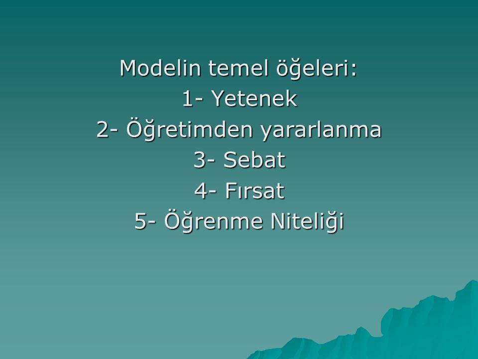 Modelin temel öğeleri: 1- Yetenek 2- Öğretimden yararlanma 3- Sebat