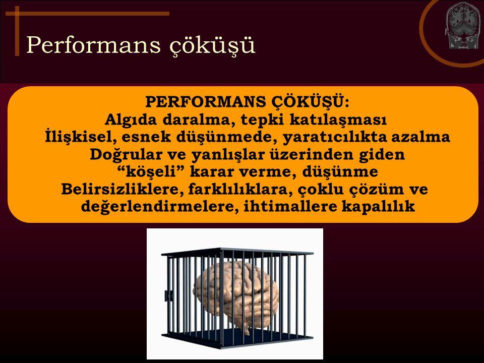 Performans çöküşü Olumsuz öğrenme ortamı ve performans çöküşü: