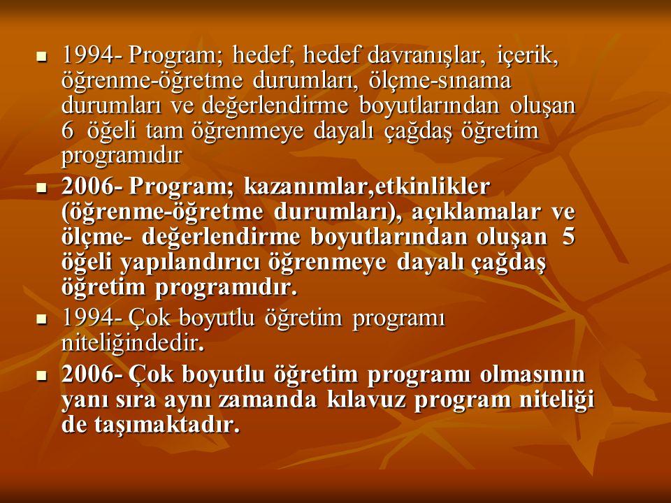 1994- Program; hedef, hedef davranışlar, içerik, öğrenme-öğretme durumları, ölçme-sınama durumları ve değerlendirme boyutlarından oluşan 6 öğeli tam öğrenmeye dayalı çağdaş öğretim programıdır