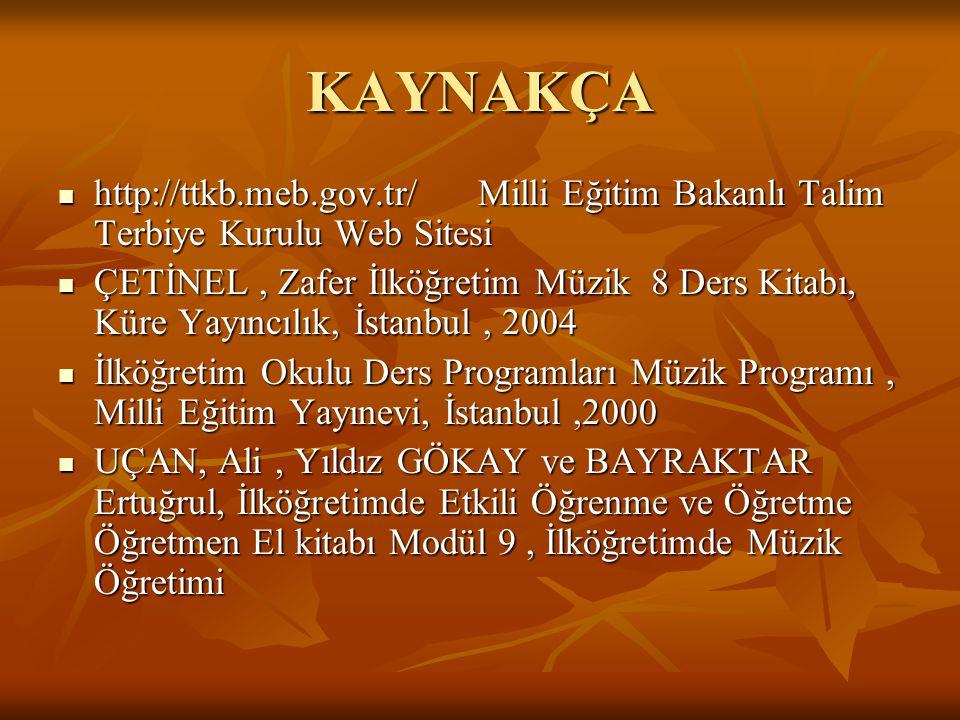 KAYNAKÇA http://ttkb.meb.gov.tr/ Milli Eğitim Bakanlı Talim Terbiye Kurulu Web Sitesi.