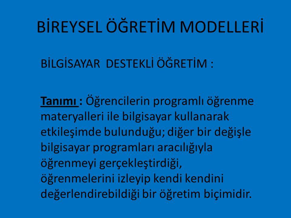 BİREYSEL ÖĞRETİM MODELLERİ