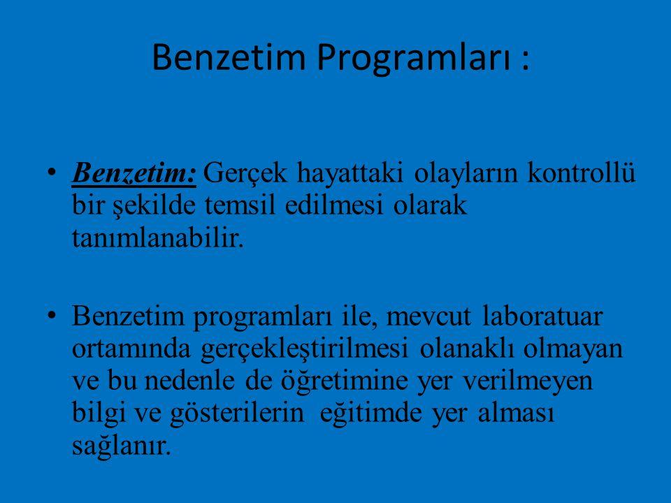 Benzetim Programları :