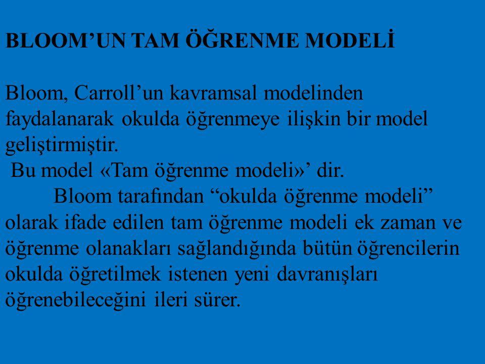 BLOOM'UN TAM ÖĞRENME MODELİ Bloom, Carroll'un kavramsal modelinden faydalanarak okulda öğrenmeye ilişkin bir model geliştirmiştir.