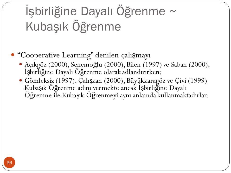İşbirliğine Dayalı Öğrenme ~ Kubaşık Öğrenme