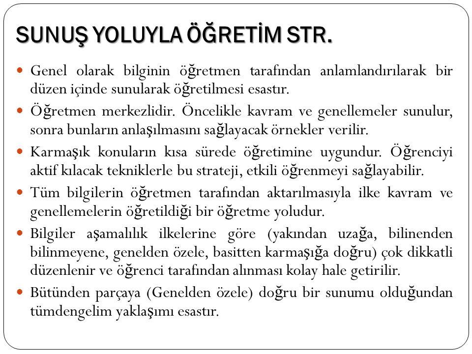 SUNUŞ YOLUYLA ÖĞRETİM STR.
