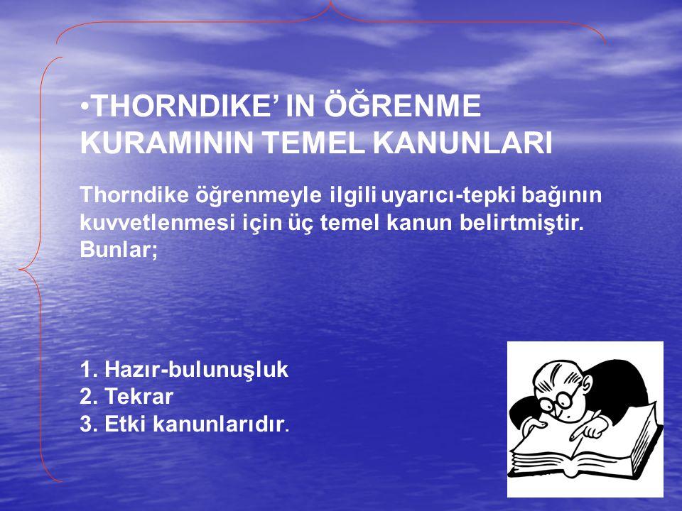THORNDIKE' IN ÖĞRENME KURAMININ TEMEL KANUNLARI Thorndike öğrenmeyle ilgili uyarıcı-tepki bağının kuvvetlenmesi için üç temel kanun belirtmiştir. Bunlar;