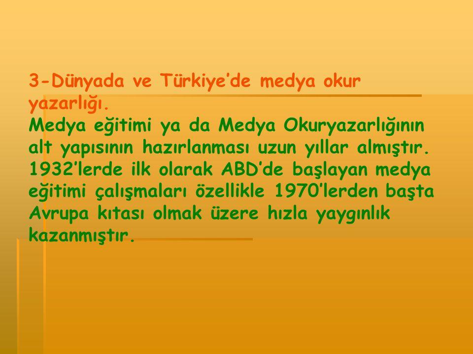 3-Dünyada ve Türkiye'de medya okur yazarlığı.
