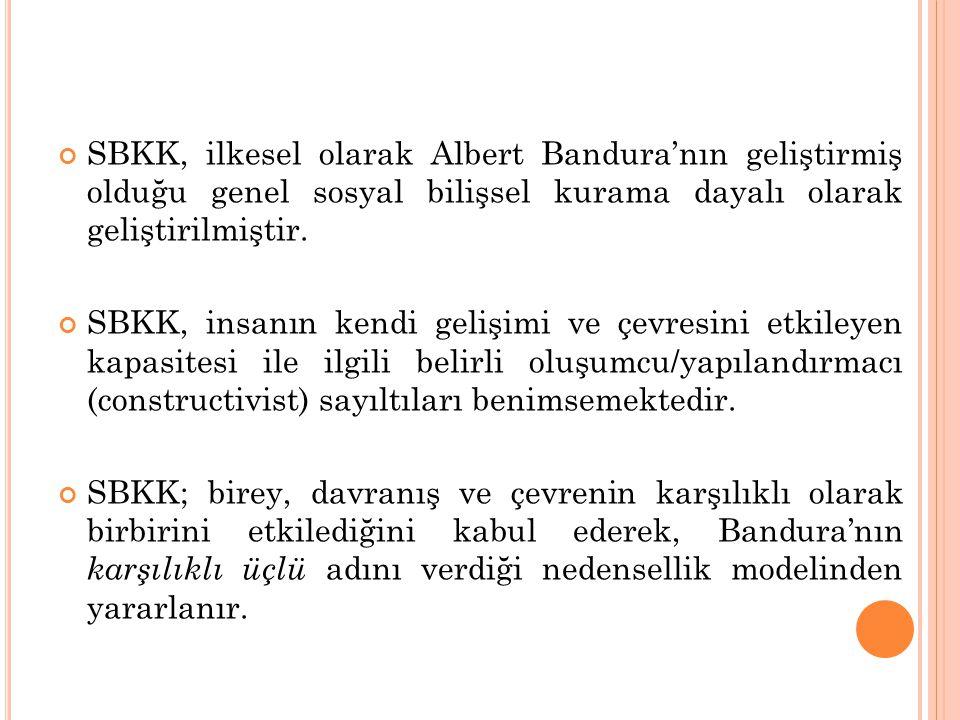 SBKK, ilkesel olarak Albert Bandura'nın geliştirmiş olduğu genel sosyal bilişsel kurama dayalı olarak geliştirilmiştir.