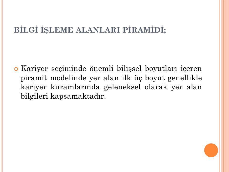 BİLGİ İŞLEME ALANLARI PİRAMİDİ;