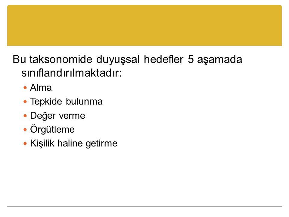 Bu taksonomide duyuşsal hedefler 5 aşamada sınıflandırılmaktadır: